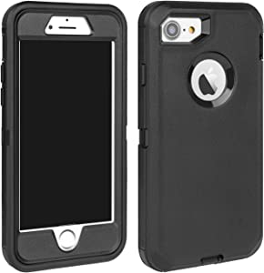 MAXCURY for iPhone 7 Case, iPhone 8 Case, Strong Durable Heavy Duty Shockproof Case for iPhone 7/8 (4.7 inch) with Built-in Screen Protector Without Belt Clip (Black)