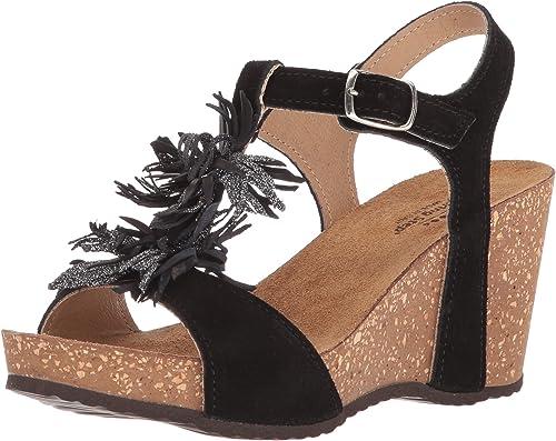 Women/'s Wedge Platform Comfort Sandal BLACK TAN PINK by BAMBOO