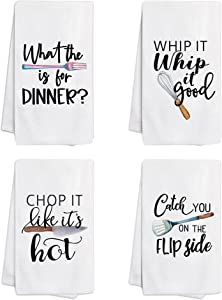 pinata Funny Kitchen Towels and Dishcloths Sets of 4 - Housewarming Gifts for New Home - Kitchen Towels with Sayings - Kitchen Dish Towels for Drying Dishes - Tea Towels, Hand Towels for Kitchen
