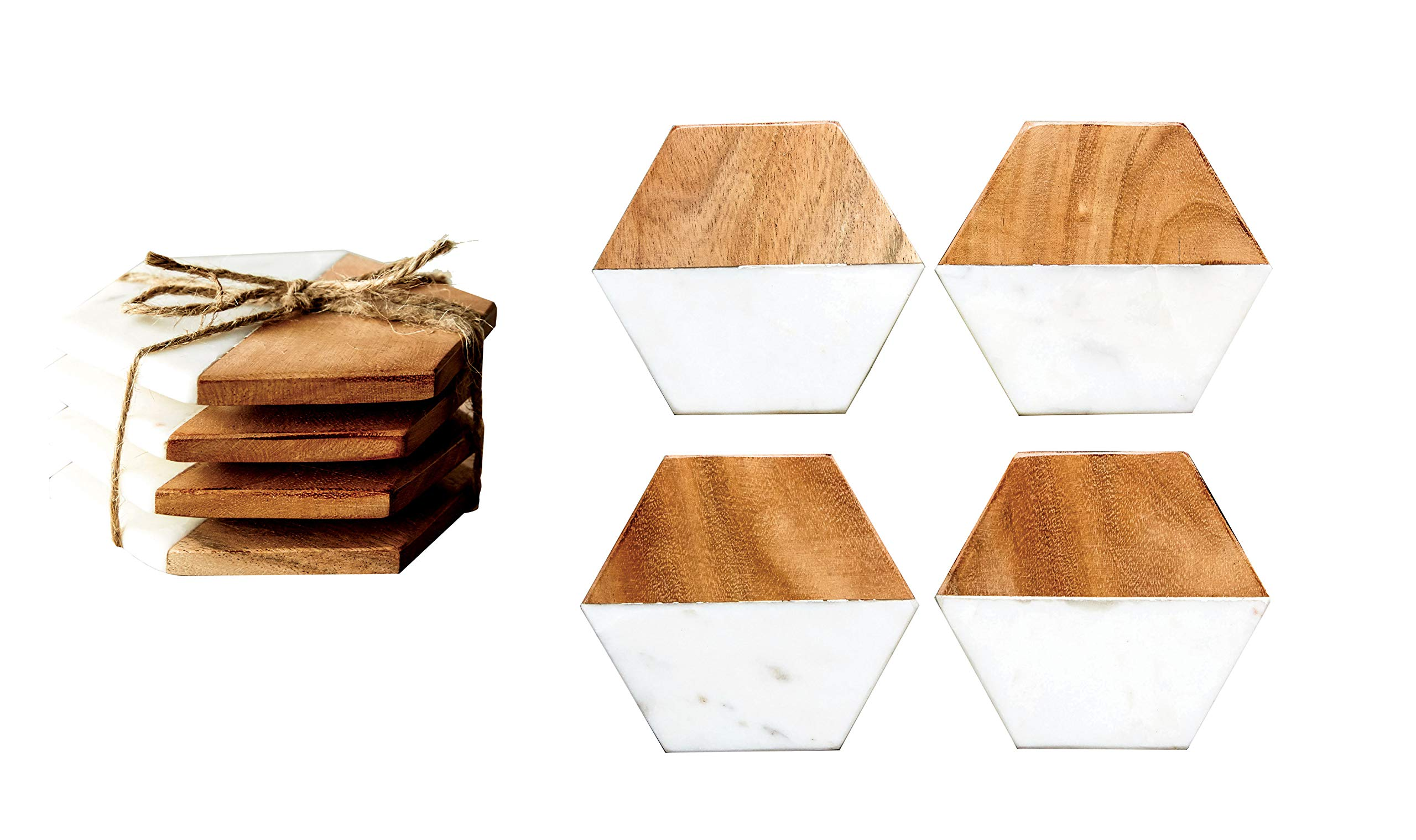 Creative Co-Op DA6336 Set of 4 Marble & Mango Wood Hexagon Coasters by Creative Co-op (Image #4)