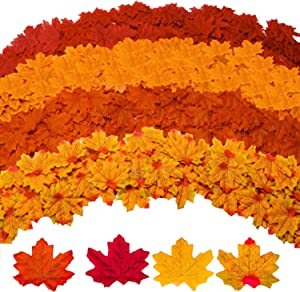 Gibot 400 Pcs Artificial Maple Leaves 4 Colors Fake Fall Leaves Silk Autumn Leaves for Weddings, Events and Thanksgiving Fall Decor