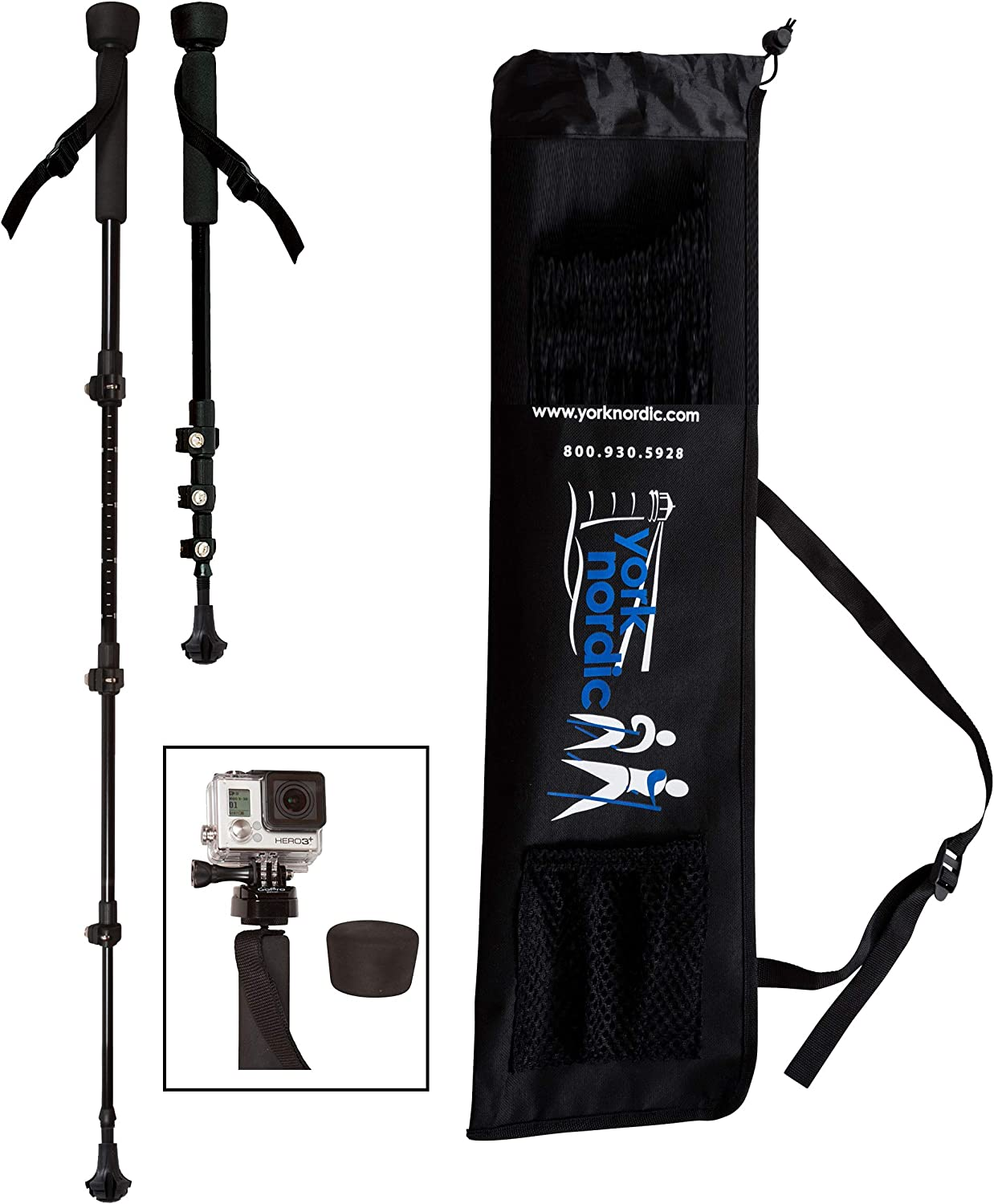 York Nordic Collapsible Trekking Hiking Poles with Digital Camera Mount, Flip Locks, and Rubber Feet, Pair