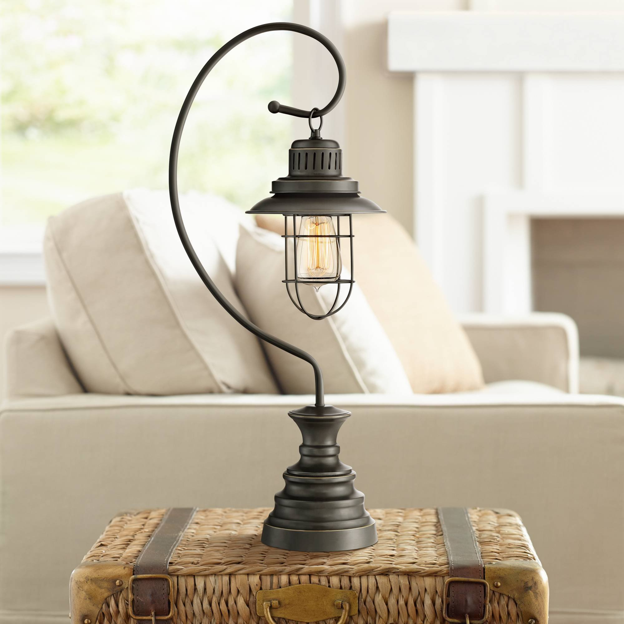 Ulysses Industrial Desk Table Lamp Dark Oil Rubbed Bronze Metal Wire Cage Shade Lantern for Living Room Bedroom Office - Franklin Iron Works by Franklin Iron Works