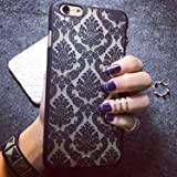 Iphone 6 Case, Baroque Retro Court Lace Pattern Texture Hard Plastic Clear Case for Apple Iphone 6 4.7 Inch Damask Black
