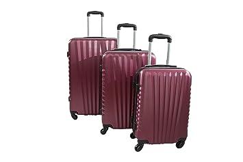 CARRO ADC Juego de 3 maletas duras - carretilla ADC elegantes Blue (S, M, L) 245 litros. (Burdeos): Amazon.es: Equipaje