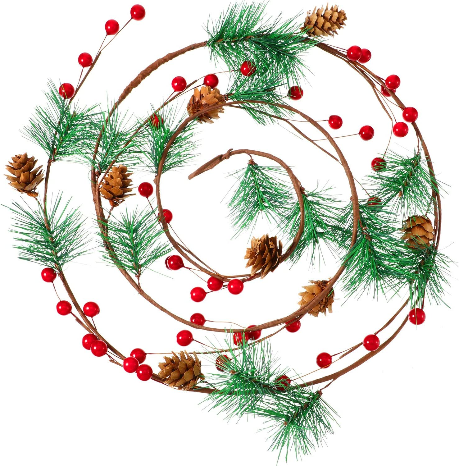 6 Feet Christmas Garland Artificial Red Berry Pine Needle Holiday Greenery Wreath for Fireplace Home Christmas Indoor Outdoor Decorations, 2 Pieces