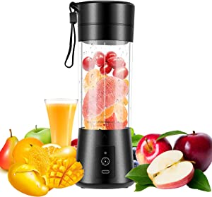 Portable Blender,MathRose Personal Blender Mini Blender with Six Blades USB Rechargeable 13 Oz Single Serve for Juice Yogurt Smoothies and Shakes,Black