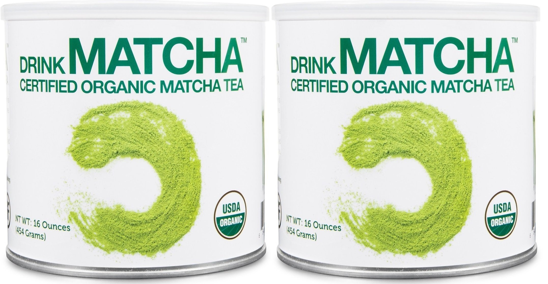 2 Tins of Drink Matcha -1 LB Matcha Green Tea Powder - USDA Organic - 100% Pure Organic Matcha Green tea Powder - Nothing added by MATCHA DNA