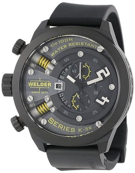 Welder 702 - Reloj de cuarzo para hombre, correa de goma color negro