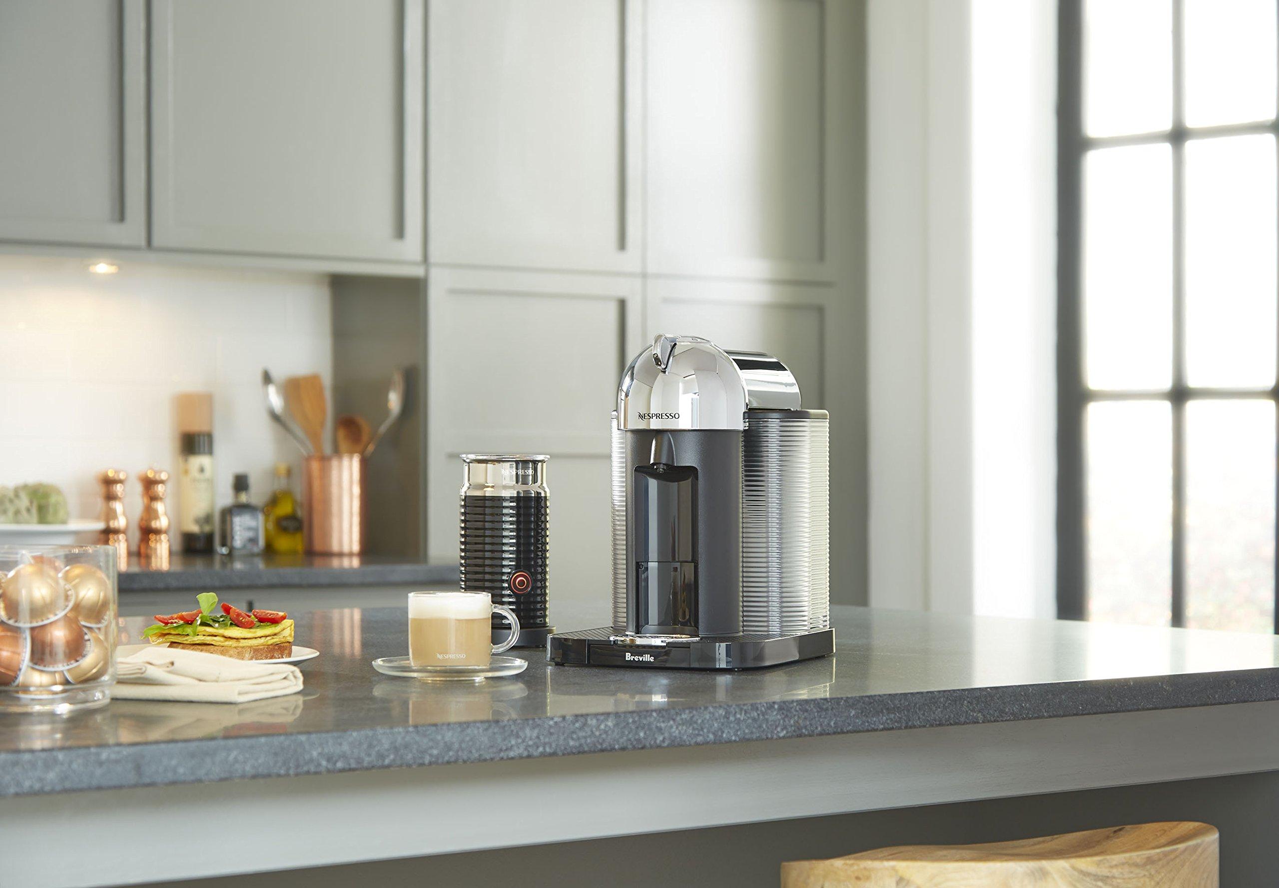 Nespresso Vertuo Coffee and Espresso Machine by Breville with Aeroccino, Chrome by Breville (Image #4)
