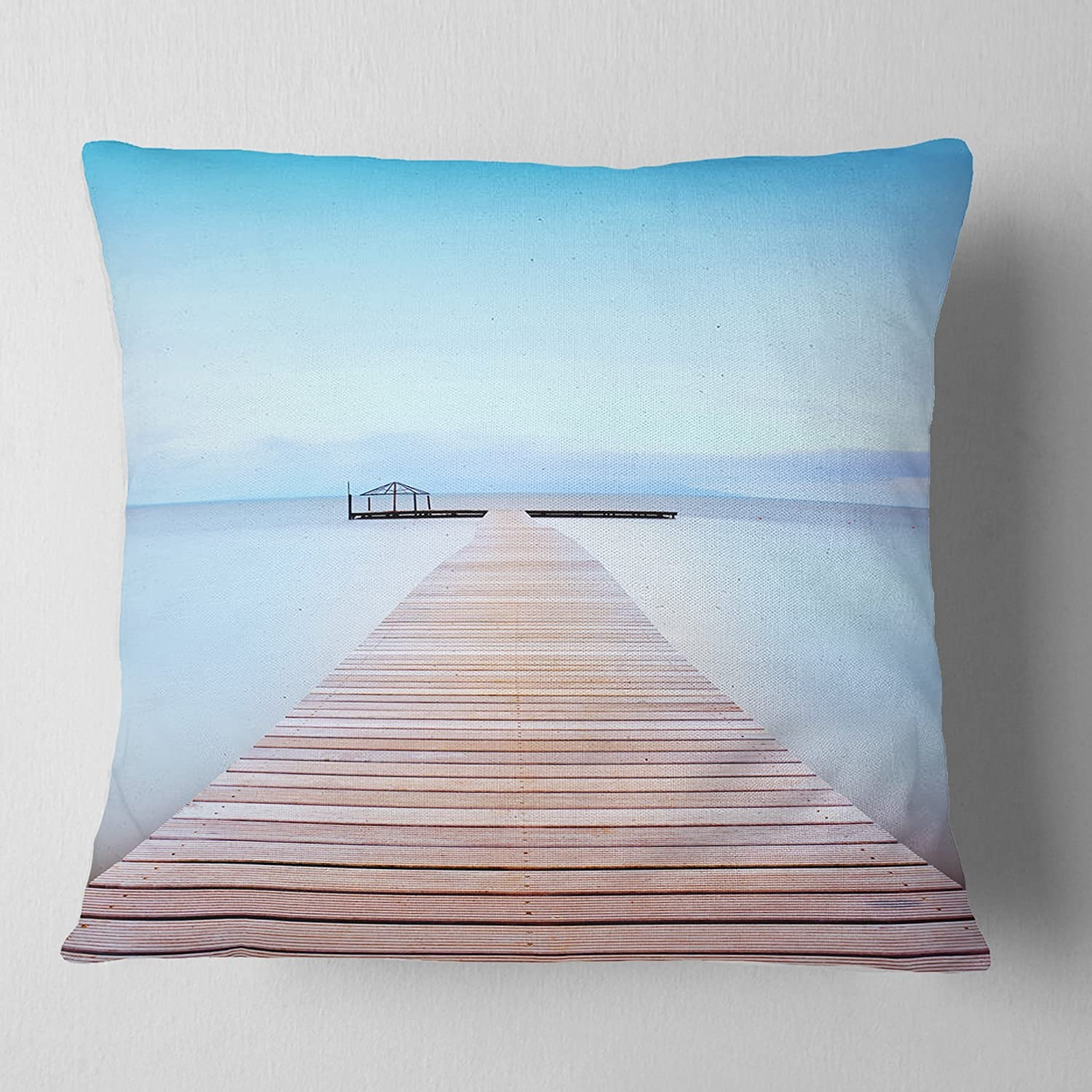 Designart Cu8356 18 18 Wooden Pier In Cold Atmosphere Seascape Cushion Cover For Living Room Sofa