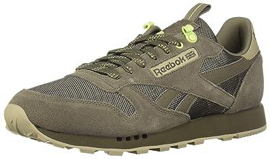 e5db002b0a9 Image Unavailable. Image not available for. Color  Reebok Men s Classic  Leather Sneaker Terrain Grey Super Neutral Lemon Zest 5.5 M US
