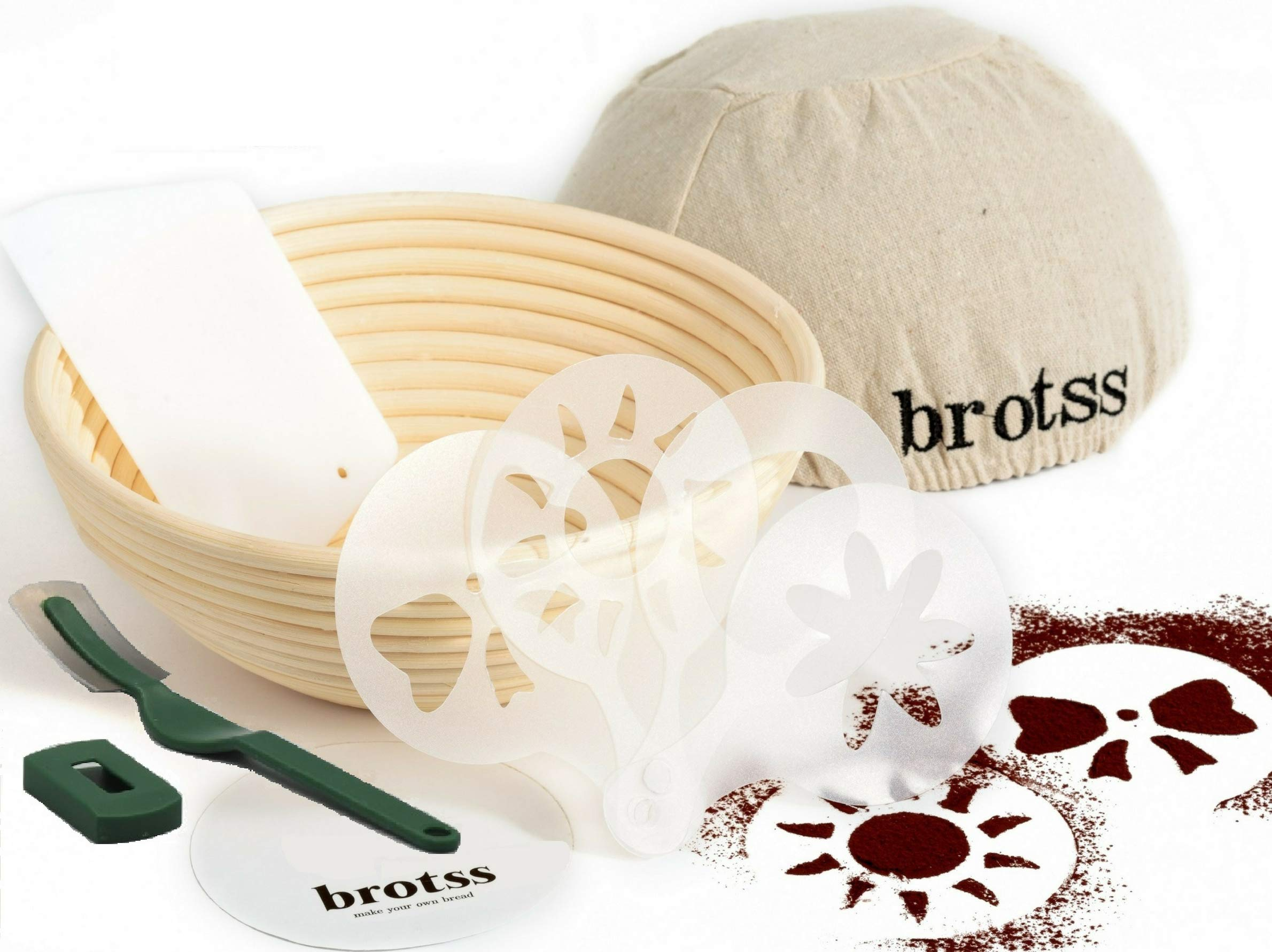 15 items Banneton kit - Proofing Basket +10 Artisan Stencils +Bread Lame +Cloth Liner Linen+Bowl Scraper for Bakers/Sourdough Recipe, Brotform Rising Making Round Baked Crispy Dough Crust Boules Loaf by brotss