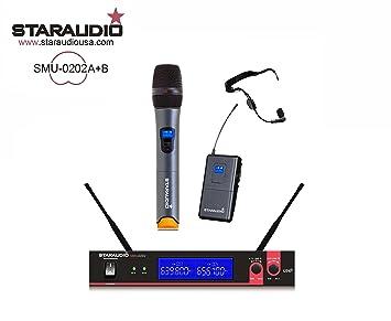 staraudio marca nueva Pro etapa dj 2 canales inalámbrico UHF doble de mano y auriculares Sistema