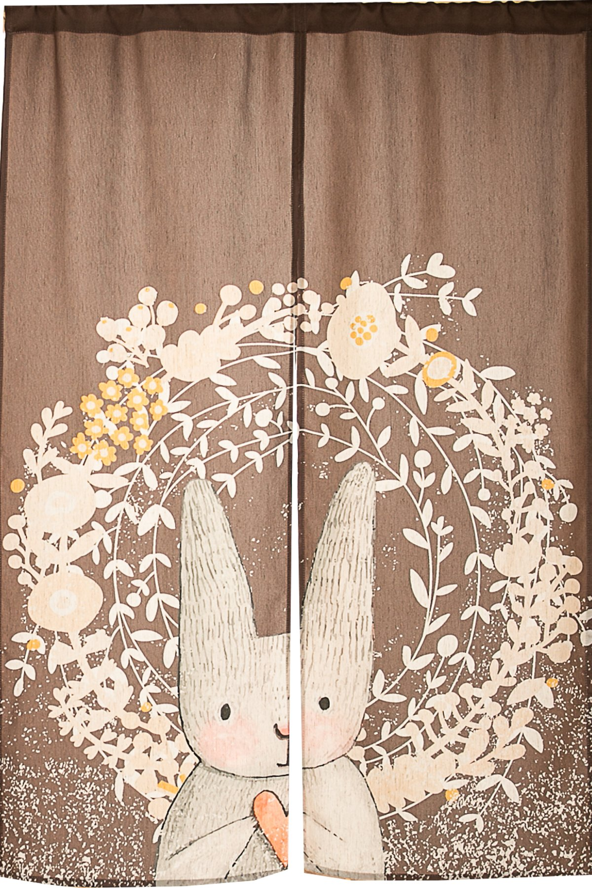 Japanese Noren Doorway Curtain Tapestry Cat Story (Bunny Love)