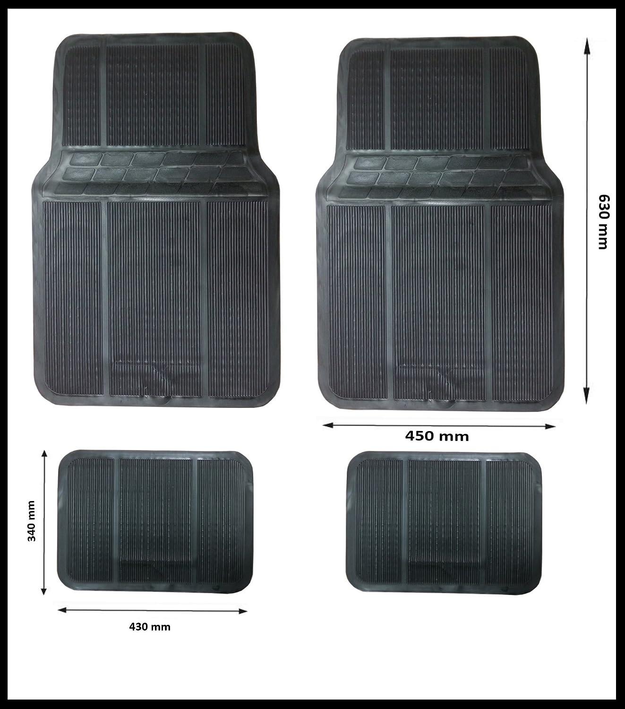 4 PCS SLIM UNIVERSAL BLACK RUBBER CAR MAT SET NON SLIP BUS MATS