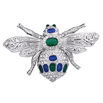 TENYE Women's Austrian Crystal Enamel Lovely Honeybee Insect Animal Brooch Clear Silver-Tone