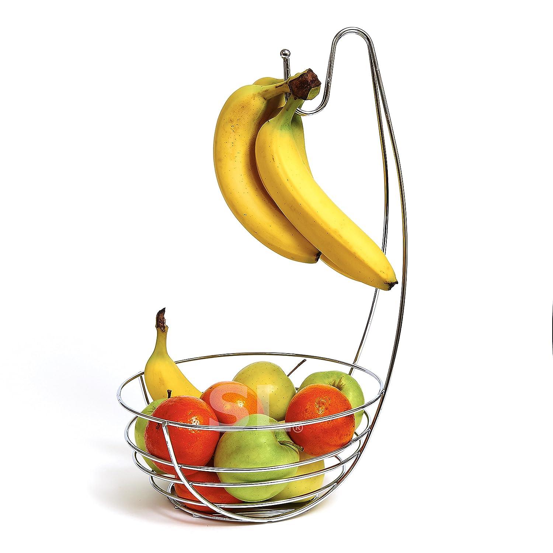 FUSION CHROME FRUIT BOWL WITH BANANA HANGER TREE HOLDER FRUIT STORAGE BOWL STAND HOOK BASE BANANA HAMMOCK by Express trading