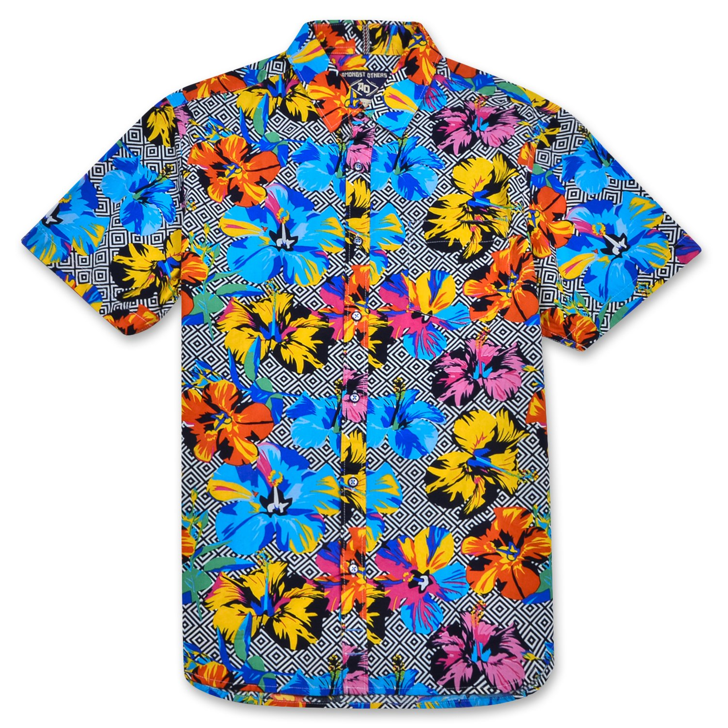 Top1  Amongst Others Men s Short Sleeve Button Down Casual Hawaiian Shirt  with Pocket 3437123a613b