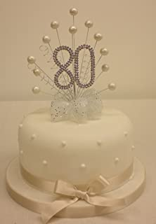 80th Birthday Cake Topper Silver Shoe Decoration with Diamante