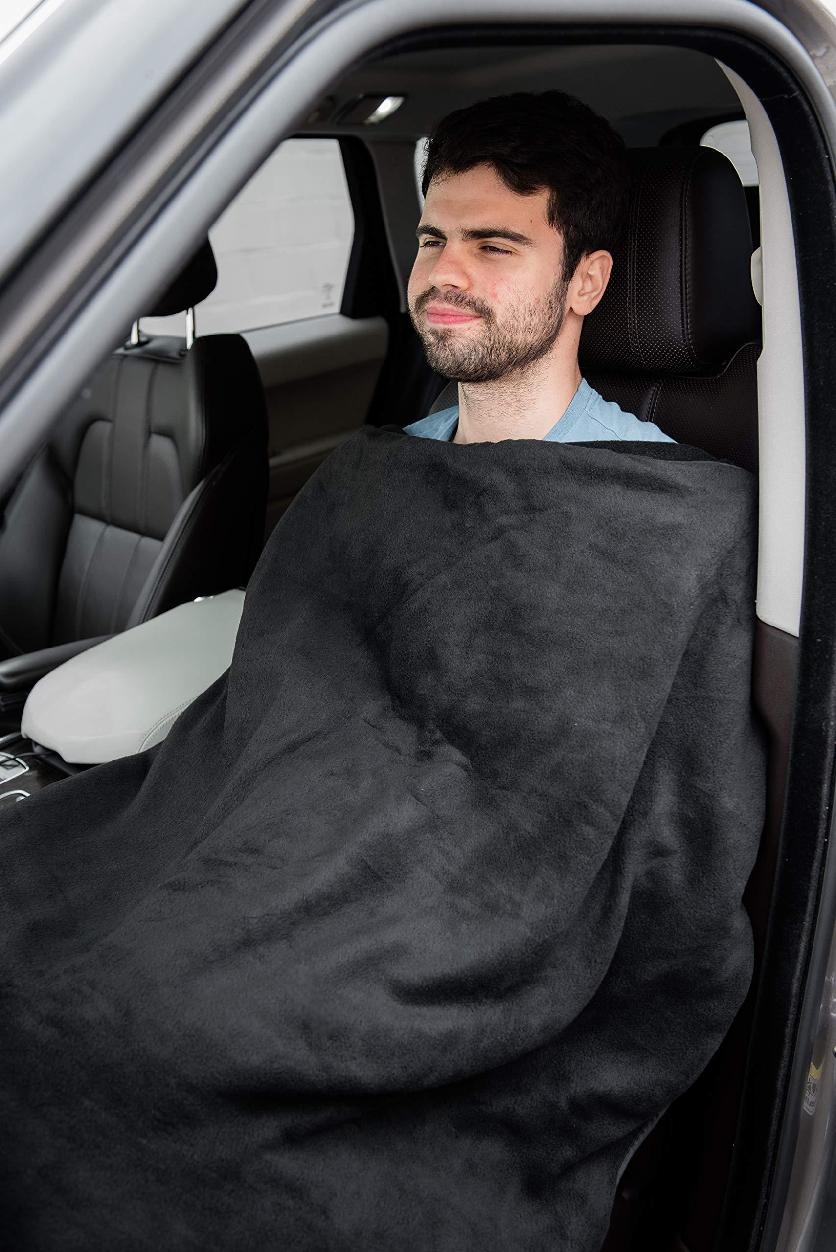 LARGE 12V ELECTRIC HEATED CAR VAN TRUCK POLAR FLEECE COZY WARM TRAVEL BLANKET