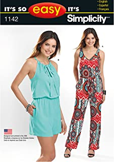 product image for Simplicity It's So Easy Pattern 1142 Misses Jumpsuit in Two Lengths, Size 6-24 XS-XL