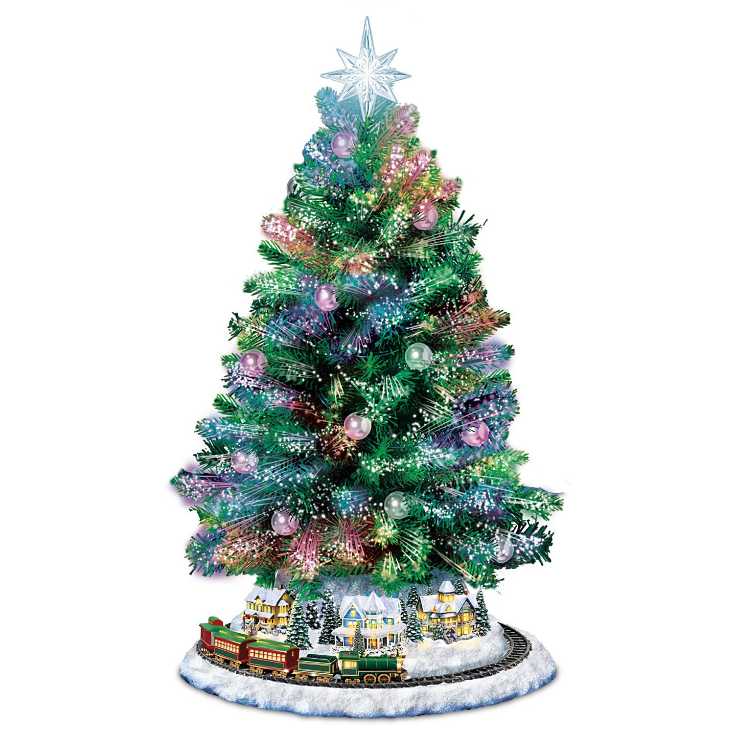 Thomas Kinkade Holiday Sparkle Color-Changing Fiber-Optic Tabletop Christmas Tree by The Bradford Exchange