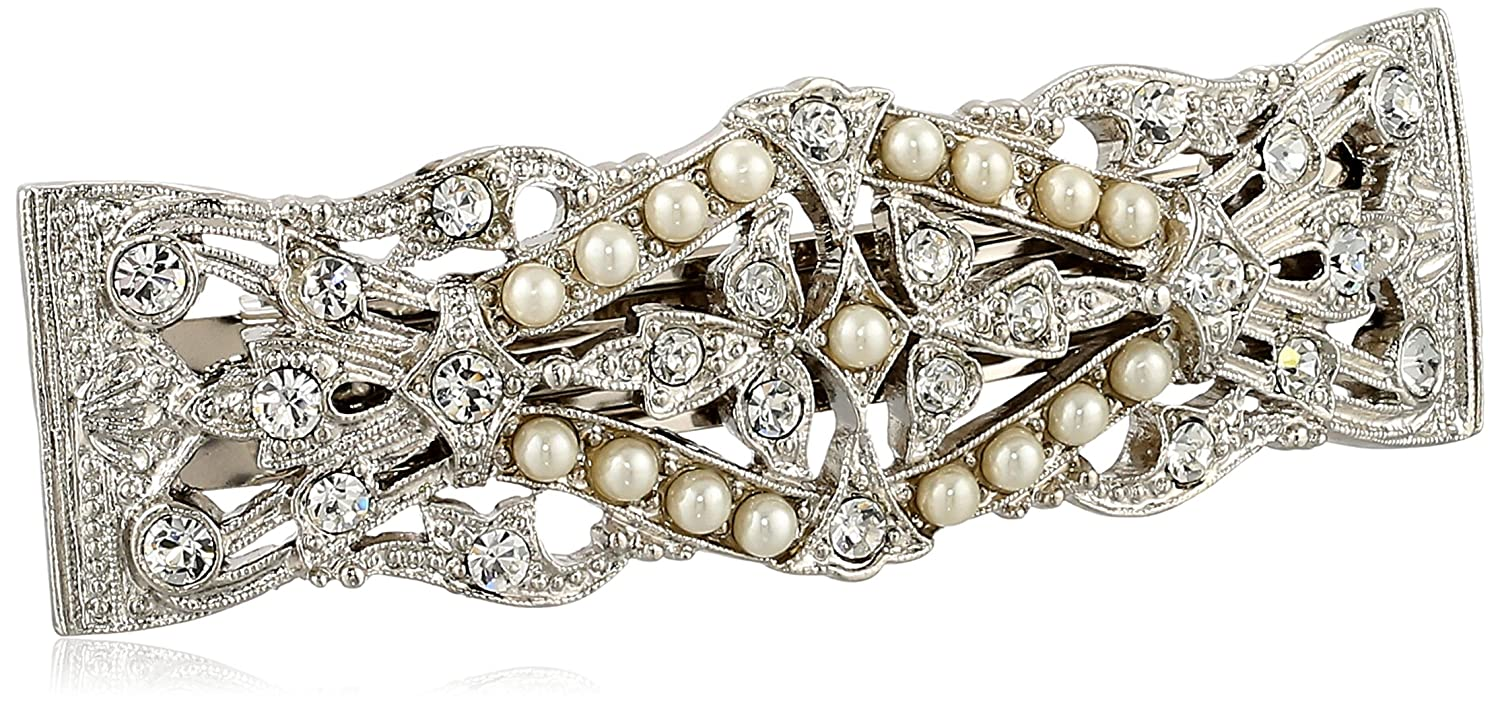 1928 Bridal Silver Tone Crystal Simulated Freshwater Pearl Barrette 1928 Jewelry 12652