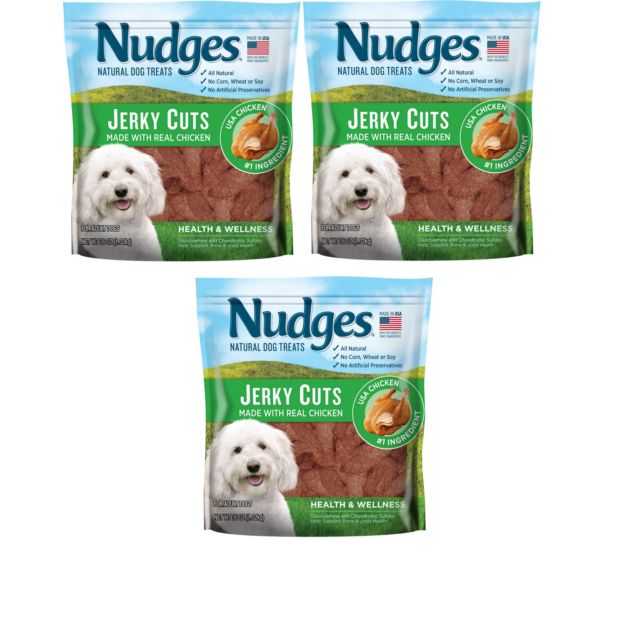 Nudges Health and Wellness Chicken Jerky Dog Treats, 36 oz. - 3 Pack