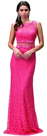 Dancing Queen Womens Gorgeous Pink Embroidered Mermaid Dress- Ladies Wedding Evening Party Pretty Ball Gown