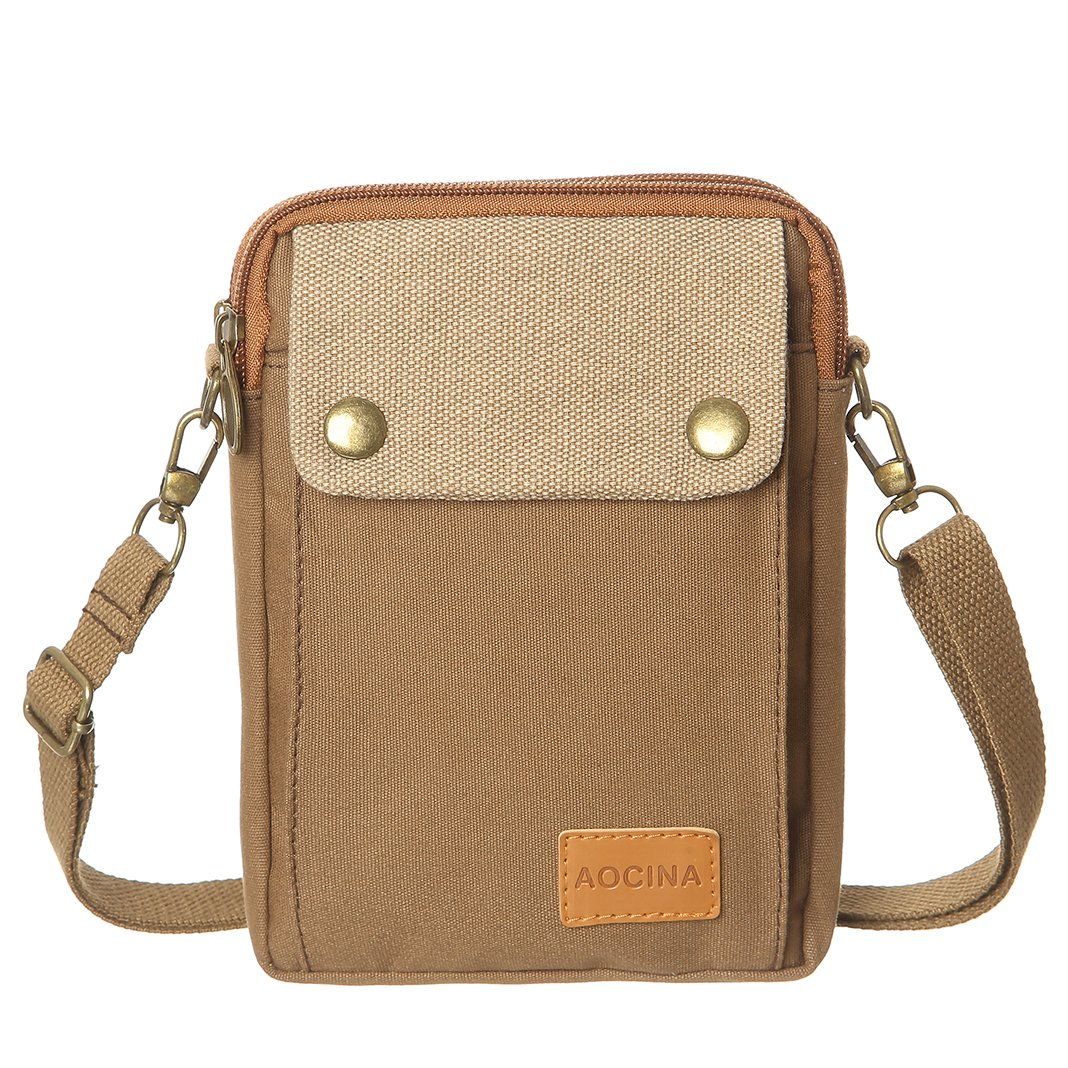 Cell Phone Purse Wallet Canvas Big Pocket Women Small Crossbody Purse Bags (Brown)