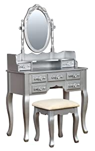 HOMES: Inside + Out Gala Transitional Vanity Table with Stool, Silver