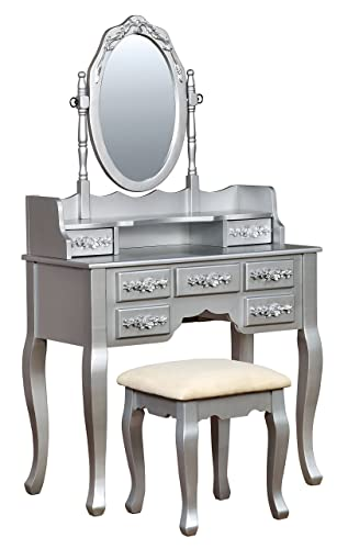 HOMES Inside Out Gala Transitional Vanity Table with Stool, Silver