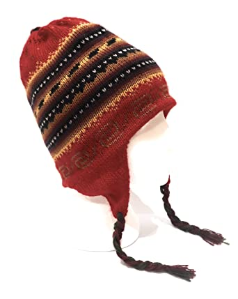 37b5fbc62 Amazon.com: Hand-Knotted Chullo Winter Hat Multicolor, Red, Yellow ...