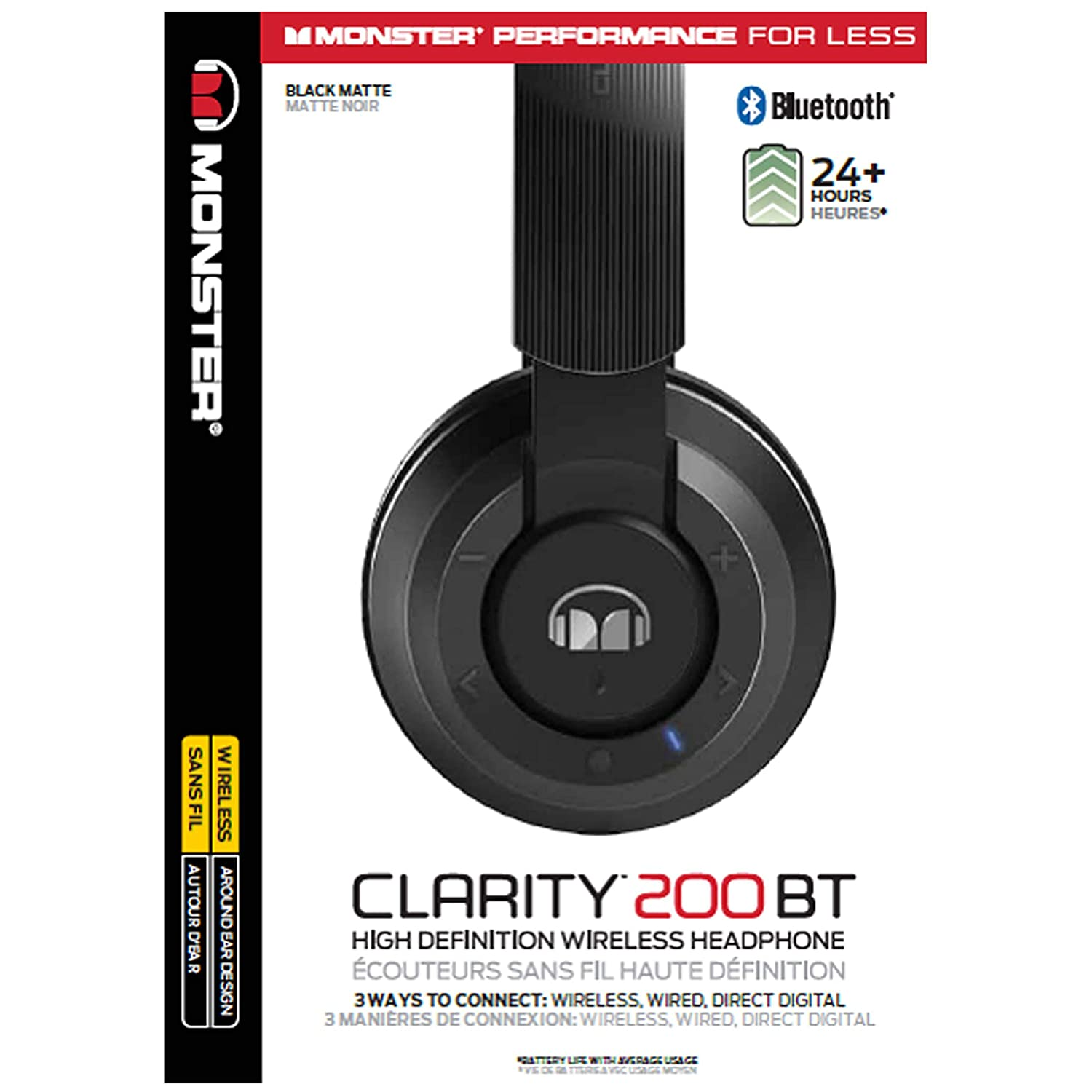 372739444e8 Amazon.com: Monster Clarity HD 200 Around-Ear Bluetooth Wireless Headphones,  Black (137101-00): Home Audio & Theater