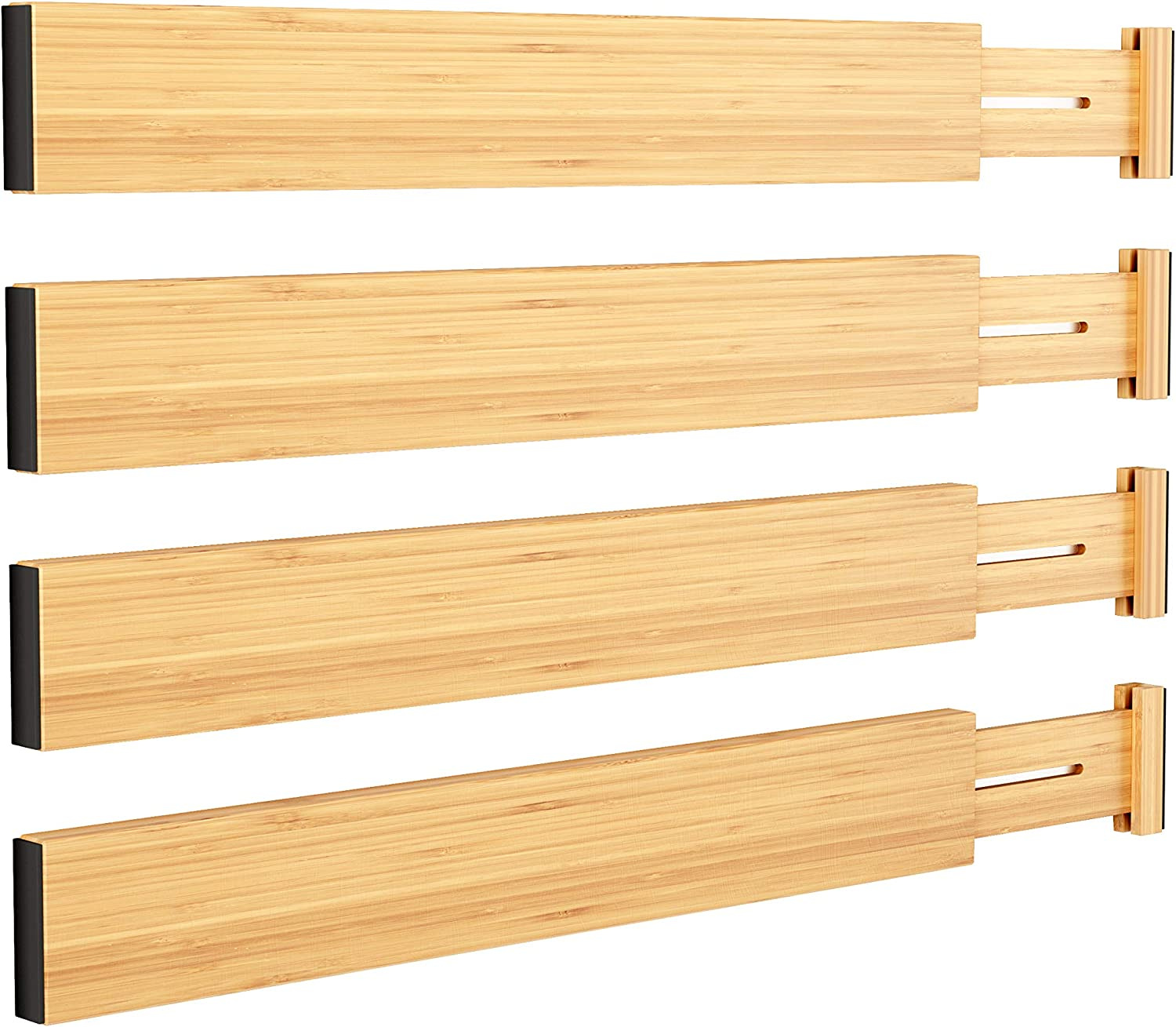 BAMEOS Drawer Dividers Bamboo Separators Organization Expandable Organizers for Kitchen Bedroom Bathroom Dresser Office 4-pack (17.5-22 inch)