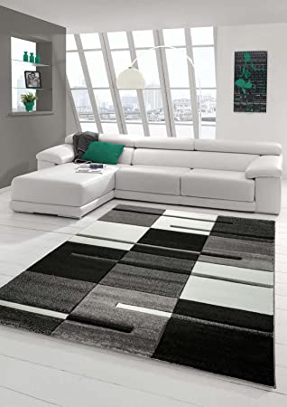 designer teppich moderner teppich wohnzimmer teppich kurzflor ... - Wohnzimmer Teppich Schwarz Weis