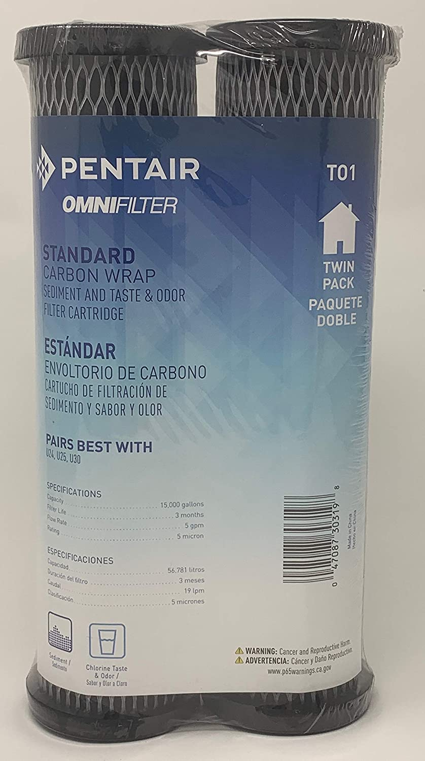 Omnifilter Standard T01 Omni TO1 Whole House Replacement Under Sink Water Filter Carbon Wrapped Cartridge (2-Pack) Chlorine Taste Odor Sediment TO1 T01 (Twin Pack) Water Filter Newest Model
