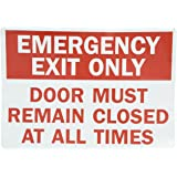 """SmartSign Adhesive Vinyl Label, Legend """"Emergency Exit Only Door Closed At All Times"""", 10"""" high x 14"""" wide, Red on White"""