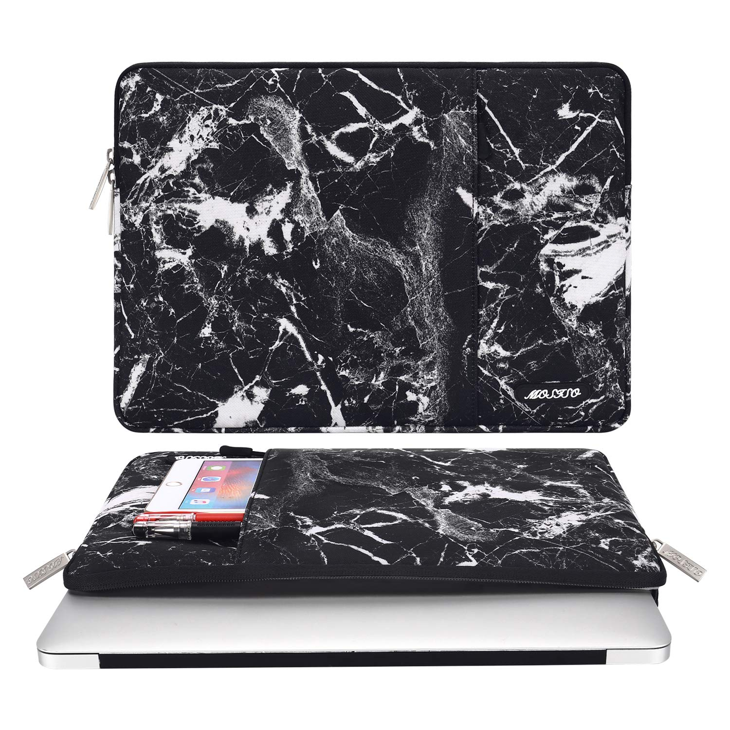 MOSISO Laptop Sleeve Bag Compatible 13-13.3 Inch MacBook Pro, MacBook Air, Notebook Computer, Vertical Style Water Repellent Polyester Protective Case Cover with Pocket, Black Marble by MOSISO (Image #2)