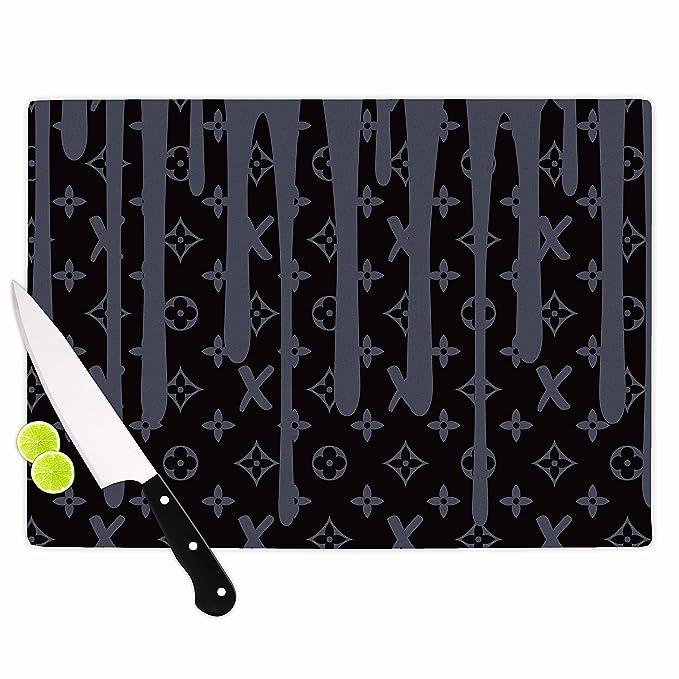 Multi KESS InHouse LT1002ACB01 Just LLX Drip Black Gray,Illustration Cutting Board 11.5 x 8.25