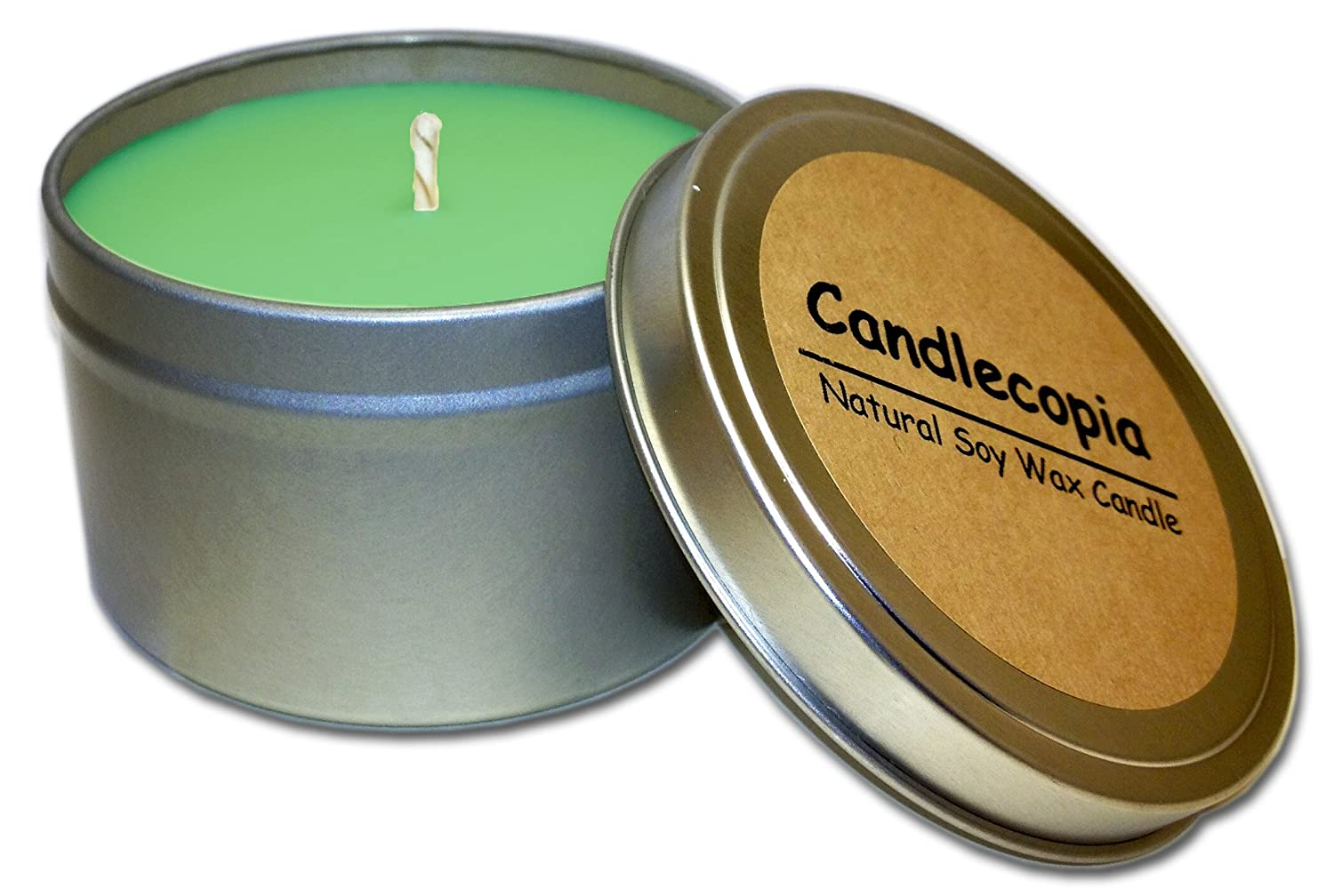 Candlecopia Mistletoe Strongly Scented Sustainable Vegan Natural Soy Travel Tin Candle TIN-EVERG-8Z