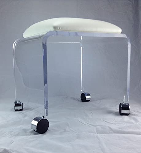 One Stop Plastic Shop Clear Acrylic Vanity Bench with White Vinyl Cushion and Chrome Casters