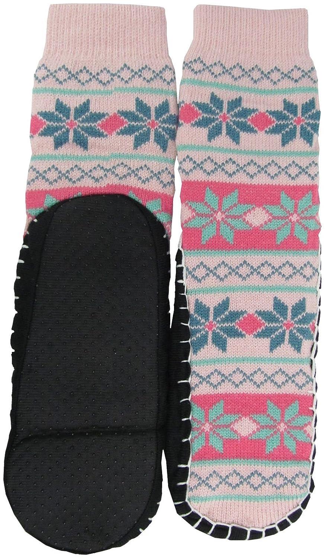 Bottom Size 23-24cm Snowflake Design Bottom Size 23-24cm Snowflake/_Light Pink w. Light Green HS504 J.Ann Womens Jacquard Knitted Slipper Sock