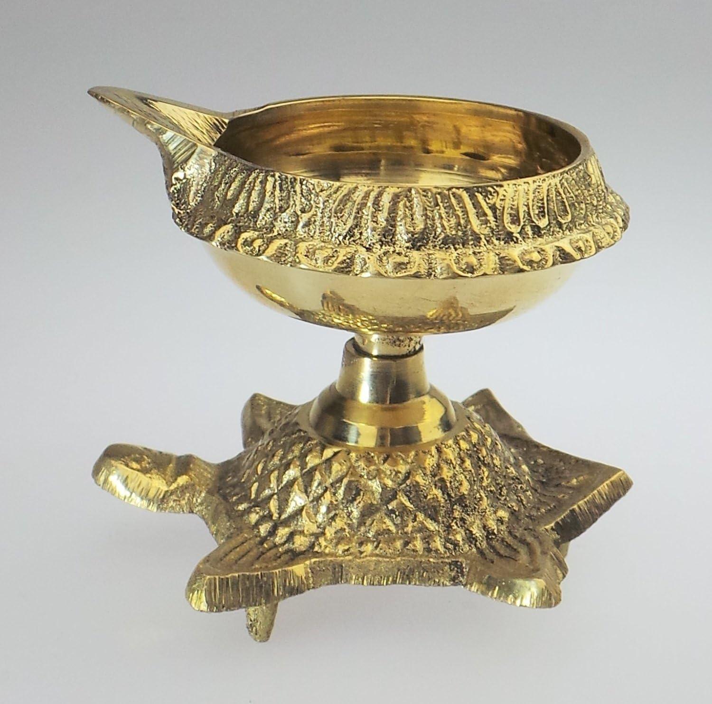 Hashcart Pure Brass Handmade Kuber Tortoise Diya Oil Lamp Vastu Good Luck Diya for God Prayer