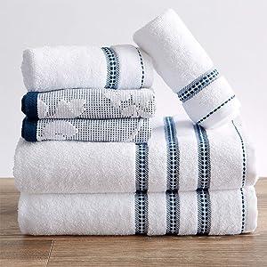 100% Cotton Floral Jacquard Bath Towels, Luxury 6 Piece Set - 2 Bath Towels, 2 Hand Towels and 2 Washcloths. Absorbent Super Plush Decorative Towels (6 Piece Set, White / Blue)