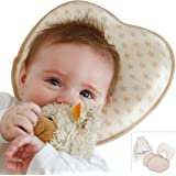 Babykissen gegen Plattkopf aus BIO-BAUMWOLLE von Minky Mooh® - Inkl. 2 Bezügen | Ergonomisches Memory Foam für natürliche Kopfform und Vermeidung von Kopfverformung von Deinem Neugeborenen Baby