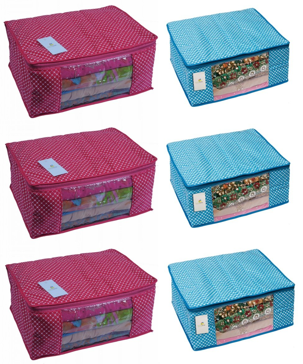 Homestrap Cotton Quilted 6 Piece Large Saree Cover Bag