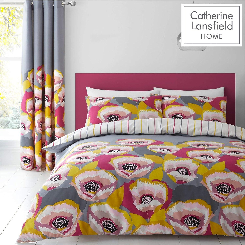 Catherine Lansfield Modernist Poppy Easy Care Double Duvet Set Grey