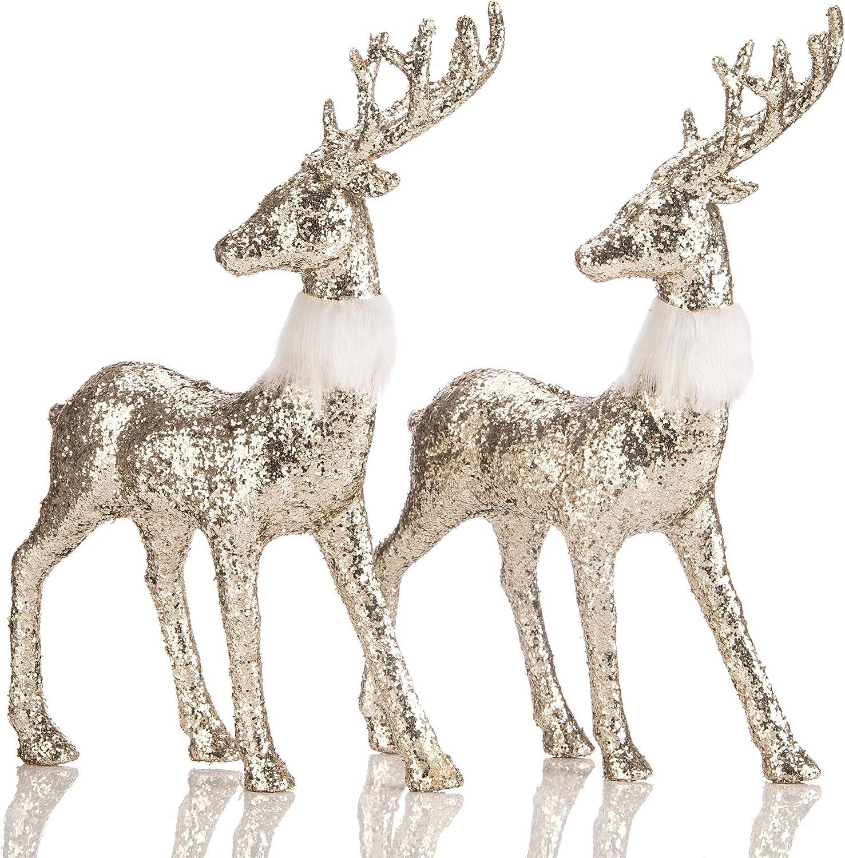 SANNO Golden Glitter Reindeer Christmas Decoration Freestanding Indoor Decorative Stag Deer Figurines for Tabletop, Kitchen,Mantle, Shelf,Desk,Office Winter Decor, Set of 2